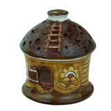 Керамическая глина подсвечника handmade в небольшом доме Свеча Стоковые Изображения