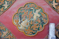 Керамическая деталь от стены в запретном городе, Пекина королевского дворца Стоковые Фотографии RF