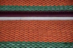Керамическая плитка на крыше церков Buddhish Стоковые Фотографии RF