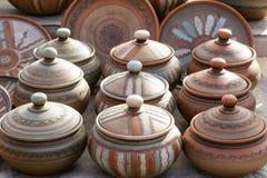 Керамические кувшины глины, посуда стоковые фотографии rf