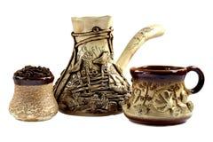 Керамический комплект кофе, cezve Стоковые Фотографии RF
