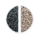 2 керамических плиты с семенами подсолнуха Стоковое Фото