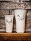 2 керамических художнических вазы Стоковые Изображения RF