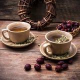 2 керамических чашки заварили чай Стоковое Изображение