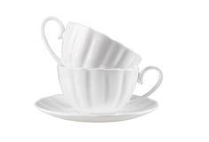 2 керамических чашки на поддоннике Стоковые Фотографии RF