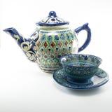 Керамическое азиатское keattle чая с парами чашки Стоковые Изображения