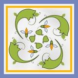 керамическое украшение цветет плитка листьев Стоковое Фото