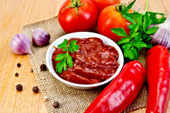 Кетчуп с овощами на мешковине салфетки Стоковые Изображения