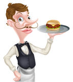Кельнер бургера шаржа Стоковая Фотография