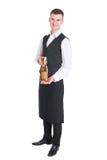 Кельнер с бутылкой шампанского Стоковая Фотография RF