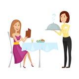 Кельнер с горячим блюдом в ресторане Иллюстрация вектора на белой предпосылке Стиль квартиры и шаржа Стоковое Изображение