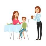 Кельнер с горячим блюдом в ресторане Иллюстрация вектора на белой предпосылке Стиль квартиры и шаржа Стоковое фото RF