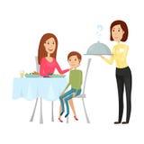 Кельнер с горячим блюдом в ресторане Иллюстрация вектора на белой предпосылке Стиль квартиры и шаржа Стоковое Фото