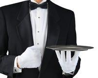 Кельнер с серебряным подносом стоковое изображение rf
