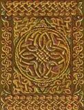 Кельтский ирландский узел кругом и орнамент границы Традиционное средневековое золотое украшение Стоковые Изображения RF