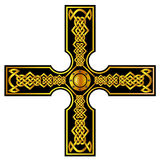 Кельтский крест с золотом Стоковое Изображение RF