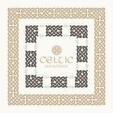 Кельтским заплетенный узлом набор орнамента границы рамки Стоковое Фото