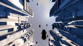Кибернетический город с футуристическими зданиями и автомобилями летания Loopable бесплатная иллюстрация
