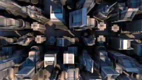 Кибернетический город с футуристическими зданиями Loopable иллюстрация штока