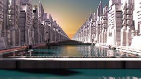 Кибернетический город с футуристическими зданиями Loopable иллюстрация вектора