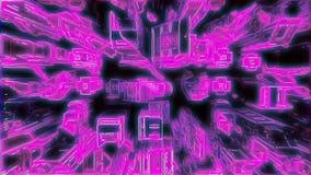 Кибернетический неоновый город с футуристическими зданиями Loopable иллюстрация вектора