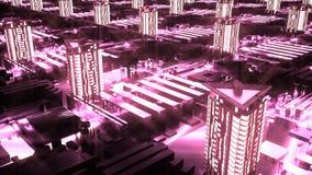 Кибернетический футуристический неоновый город 3d здания, небоскребы в стиле технологии иллюстрация вектора