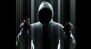 Кибернетическое преступление футуристического нападения хакера виртуальное Стоковые Изображения