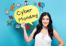 Кибер понедельник с женщиной держа пузырь речи стоковые изображения