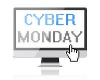 Кибер понедельник - отправьте СМС на экране компьютера с курсором пиксела Стоковые Изображения RF