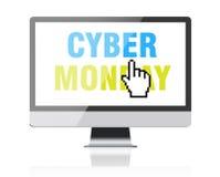Кибер понедельник - отправьте СМС на экране компьютера с курсором пиксела стоковые изображения