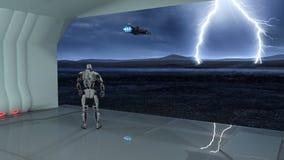 Киборг, робот гуманоида в заливе груза наблюдая летание космического корабля в шторм на дезертированной планете, механически андр иллюстрация вектора
