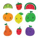 Киви, клубника, арбуз, мандарин, лимон, яблоко, груша, терпуг иллюстрация вектора