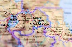 Кигали Руанда на карте Стоковые Изображения RF