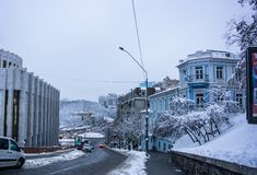 Киев, Украина, выравнивая город Городской пейзаж, городская архитектура стоковое фото rf