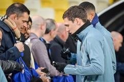 Киев, УКРАИНА - 14-ое марта 2019: Футболист во время матча лиги Европы UEFA между динамомашиной Киевом против Челси (Лондона, стоковое изображение