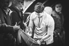 Киев, УКРАИНА - 14-ое марта 2019: Футболист во время матча лиги Европы UEFA между динамомашиной Киевом против Челси (Лондона, стоковые изображения