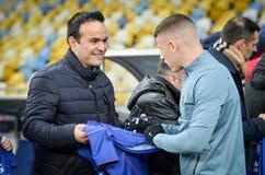 Киев, УКРАИНА - 14-ое марта 2019: Футболист во время матча лиги Европы UEFA между динамомашиной Киевом против Челси (Лондона, стоковая фотография