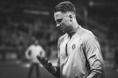 Киев, УКРАИНА - 14-ое марта 2019: Футболист во время матча лиги Европы UEFA между динамомашиной Киевом против Челси (Лондона, стоковое фото rf
