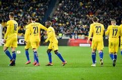 Киев, УКРАИНА - 14-ое марта 2019: Футболист Челси празднует цель вести счет во время матча лиги Европы UEFA между динамомашиной стоковое изображение