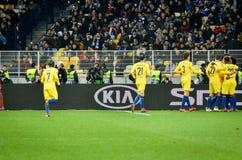 Киев, УКРАИНА - 14-ое марта 2019: Футболист FC Челси празднует цель вести счет во время матча лиги Европы UEFA  стоковые фотографии rf