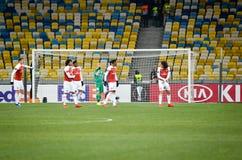 КИЕВ, УКРАИНА - 29-ое ноября 2018: Футболист арсенала FC (Англии) во время матча лиги Европы UEFA между Vorskla стоковые изображения