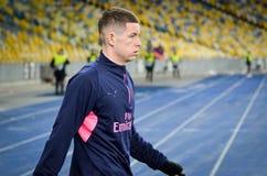 КИЕВ, УКРАИНА - 29-ое ноября 2018: Футболист во время матча лиги Европы UEFA между Vorskla Полтавой против арсенала FC ( стоковое фото
