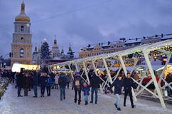 КИЕВ, УКРАИНА - 23-ье декабря 2017: Украшенный для квадрата Sophia рождества и Нового Года в Киеве Стоковое Изображение