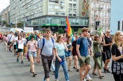 Киев, Украина - 23-ье июня 2019 Март равности LGBT KyivPride -го марш E стоковые фотографии rf