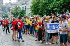 Киев, Украина - 23-ье июня 2019 Март равности LGBT KyivPride -го марш E стоковое изображение