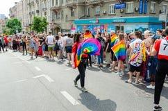 Киев, Украина - 23-ье июня 2019 Март равности LGBT KyivPride -го марш E стоковые изображения rf