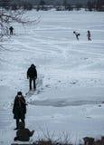 Киев, Украина - январь 2, 2017: Люди катаются на коньках на замороженном озере День Overcast Стоковое Изображение RF