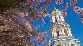 Киев Pechersk Lavra и зацветая Сакура сток-видео