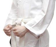 Кимоно и белый пояс. Стоковые Изображения RF