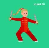 Кимоно ребенк шаржа нося, боевые искусства Стоковые Изображения